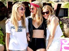 The three lovely ladies attend the Superdry Coachella brunch, catered by The Wayfarer, hosted by Poppy Delevingne in Palm Springs.