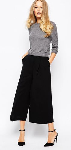 Gap wide leg dress pants cropped, rickis grey sweater, black heels