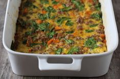 Easy Breakfast Casserole 2 tablespoons fat of choice (coconut oil or butter or ghee etc.) melted 1 large sweet potato or yam diced teaspoon fine sea salt 1 pound breakfast sausage yellow onion diced 2 cups chopped spinach 10 eggs whisked teasp Paleo Breakfast Casserole, Sausage Breakfast, Casserole Recipes, Breakfast Recipes, Keto Casserole, Chicken Casserole, Paleo Recipes Easy, Whole 30 Recipes, Top Recipes