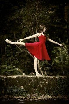 Red dress arabesque