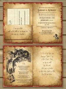 Labyrinth Lord Of The Rings Alice In Wonderland Harry Potter Themed Wedding  Invitations 2
