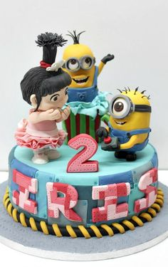 Minions & Agnes - Cake by Delicut Cakes Crazy Cakes, Fancy Cakes, Cute Cakes, Bolo Minion, Minion Cupcakes, Cake Minion, Lego Cake, Pastel Minion, Fondant Cakes