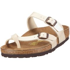 2f368ea977bd Birkenstock Women s Mayari Adjustable Toe Loop Cork Footbed Sandal Pearl  Wht 40 M EU  gt