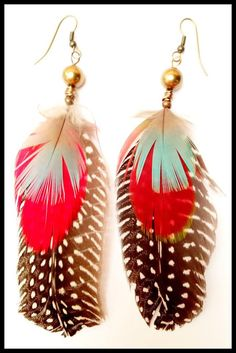 Guinea Fowl and Parrot feather earrings by RachyMade on Etsy, Feather Earrings, Drop Earrings, Parrot Feather, Guinea Fowl, Etsy, Ideas, Thoughts, Chandelier Earrings