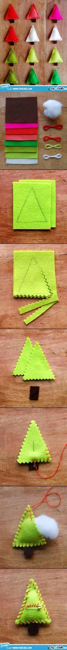 Felt Christmas Tree Pins | #DIY