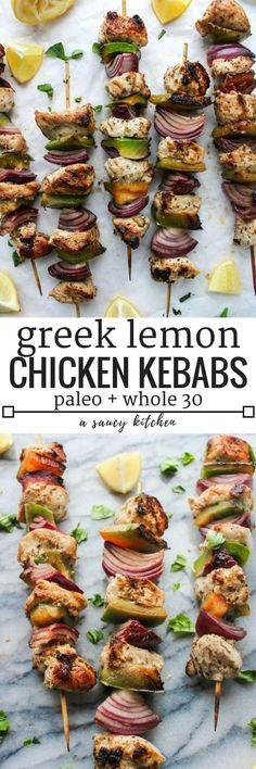 Greek inspired Lemon Chicken Kebabs made on the stove top   Paleo + Whole 30