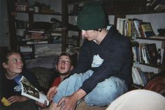 Matt Christiansen and Zach Thomas in Cabin Bob's Library, 2005