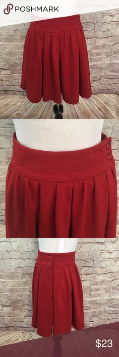 """Bedo Femme  Circle Skirt Adorable unlined brick red skater skirt with hidden side zipper and two button closure from Bedo.  Rayon/Polyester. Size XS. Waist 26"""". Length 17"""". EUC. Bedo Femme Skirts Circle & Skater"""