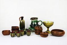ceramika i drewno vintage