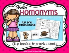 Homonym Flip Books and Worksheets Kindergarten and First Grade. Fun and interactive. $