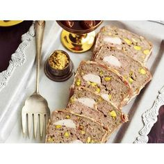 Chicken, pork and veal terrine recipe - By Australian Women's Weekly, This chunky, rustic, French-style terrine is studded with tender pistachio nuts. Serve with picked vegetables, mustard and crusty bread for a simply delicious lunch. #Chicken #Terrine