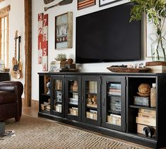 Printer's Long Low Media Suite | Pottery Barn  Gotta find something!  And figure out how to decorate around it!
