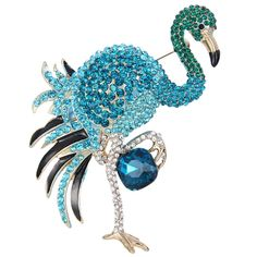 EVER FAITH? Flamingo Brooch Blue Austrian Crystal Enamel >>> Read more reviews of the product by visiting the link on the image.