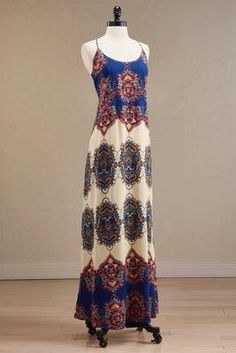 lattice back printed maxi dress - #Versona ::: #summertime #summer2016
