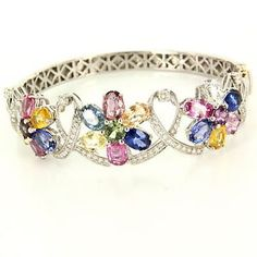 Estate 18 Karat White Gold Diamond Rainbow Sapphire Bangle Bracelet Fine Jewelry $3895