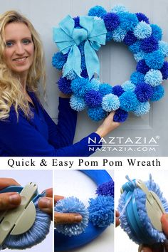 Simple Pom Pom Wreath Made from Yarn : How to Make a Simple Pom Pom Wreath – Naztazia ® Wreath Crafts, Craft Stick Crafts, Diy Wreath, Yarn Crafts, Diy And Crafts, Crafts For Kids, Tulle Wreath, Burlap Wreaths, Pom Pom Wreath