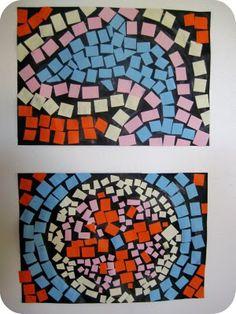 I like the paper mosaics on black paper...makes them pop!