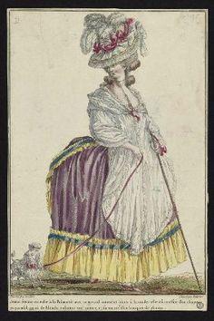 """""""Jeune femme en robe à la Polonoise avec un grand mantelet blanc à la mode: elle est coeffée d'un chapeau en parasol, garni de blonde rabattue tout autour, et surmonté d'un bouquet de plumes"""", Gallerie des Modes, 1780; MFA 44.1493"""