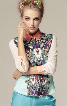 Pink Collar Long Sleeve Robots Print Blouse - Sheinside.com