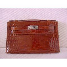 Hermes Brown Miel Crocodile Kelly Pochette Bag