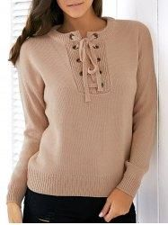Gamiss - Gamiss Round Neck Long Sleeve Lace Up Solid Color Sweater - AdoreWe.com