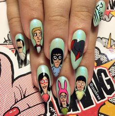 Stoked that @_donnaparis asked me for some Bob's Burgers nails  ALSO: can we talk about these natural fucking nails?! #naturalnailgoals