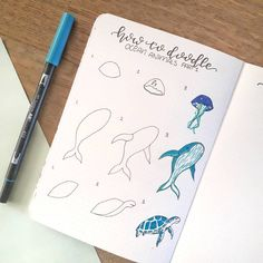 Time for some doodles! A lot of people asked me to make turtorials for sea anima. - Time for some doodles! A lot of people asked me to make turtorials for sea animals. Bullet Journal Aesthetic, Bullet Journal Notebook, Bullet Journal Ideas Pages, Bullet Journal Inspiration, Journal Pages, Bullet Journals, Doodle Drawings, Easy Drawings, Doodle Art
