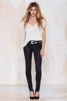 Just Female Used Leather Skinny Trouser - Sale