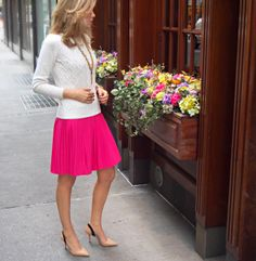 The Classy Cubicle: Cables and Pleats. The fashion blog for young professional women who need office style inspiration and work wear ideas for the corporate world. The dos and don'ts for appropriately suiting up as a female in corporate America. 20s, 30s, 40s, 50s, attire, outfits, calvin klein, pleats, zara, tommy hilfiger cable knit sweater, c. wonder necklace, kate spade, alex and ani.