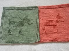 (6) Name: 'Knitting : Dog Dishcloth