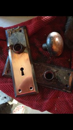Old Door Knobs. Cleaned Up And Put Back On The Refinished Door. And The  SKELETON KEY Works It!