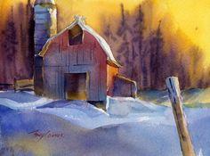 barn snowscape
