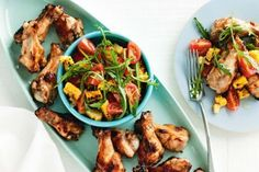 Sticky chicken drumettes with grilled corn and rocket salad. Get dinner on the table in no time at all with these quick and easy chicken drumettes. Drumettes Recipe, Potato Gratin Recipe, Vegetable Frittata, Grilled Corn Salad, Rocket Salad, Sticky Chicken, Grilled Vegetables, Gluten Free Recipes, Salad Recipes