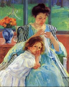 Mary Cassatt.  Young Mother Sewing, 1902.