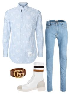 """""""Spring 18 Vibes"""" by molauren on Polyvore featuring Thom Browne, Raf Simons, Gucci, men's fashion and menswear"""