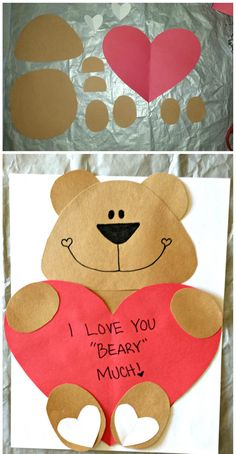 """DIY Bear Valentine's Day Craft For Kids! (Cute Valentines card idea), """"I Love You BEARY Much"""" on a heart that the bear is holding Valentine's Day Crafts For Kids, Valentine Crafts For Kids, Daycare Crafts, Preschool Crafts, Holiday Crafts, Kids Diy, Valentine Ideas, Cute Valentines Card, Bear Valentines"""