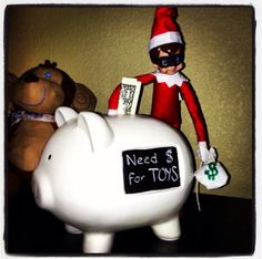 Definitely on the naughty list! (Piggy bank with chalkboard from Target)