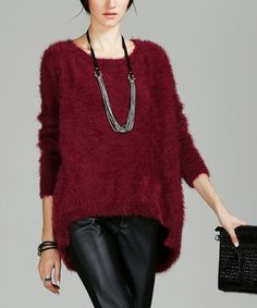 Loving this Wine Fuzzy Hi-Low Sweater on #zulily! #zulilyfinds
