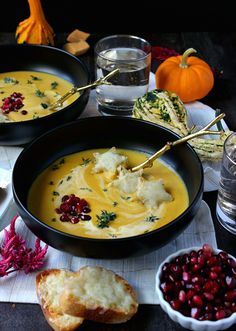 Dinner for Two: Creamy Butternut Squash Soup w/ Broiled Fontina Toasts - Wry Toast Soup Recipes, Healthy Recipes, Healthy Food, Dinner For Two, Roasted Butternut Squash Soup, Chili Soup, Soups And Stews, Food Processor Recipes, Toast