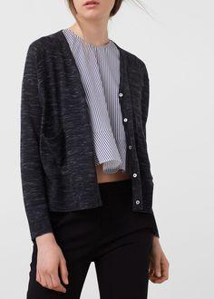 Flecked fine-knit cardigan -  Mulher | MANGO Portugal