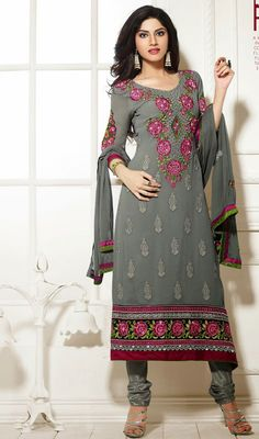Charm the crowd with this gray embroidered georgette churidar dress. This lovely dress is showing some unbelievable embroidery done with patch and stones work. Indian Fashion, Womens Fashion, Churidar, Lovely Dresses, Dress Collection, Georgette Dresses, Cold Shoulder Dress, Feminine, Fancy