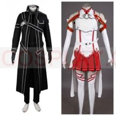 Sword Art Online SAO Kirito and Asuna Cosplay Costume!! AHHH This is such a good price DX