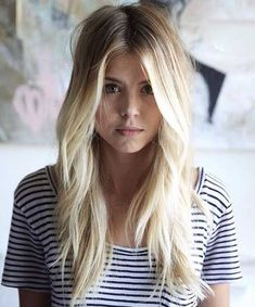 I love this color and cut! Simple and sexy... while also versatile! // Pretty White-Blonde Long Hair with Lots of Front-Facing Layers