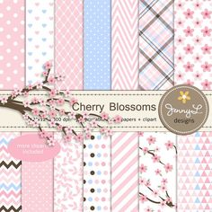 Cherry Blossoms Digital Paper and Clipart, Sakura for Wedding, Bridal Baby Shower, Birthday Party, Digital Scrapbooking, Pink and Blue
