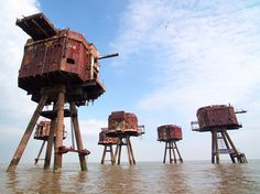 Maunsell Forts ... These sci-fi towers were constructed in the Thames estuary to protect England's coast from German air raids during World War II. After being abandoned in 1956, the forts were briefly used to broadcast offshore radio stations.