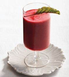 Beet and Strawberry Smoothie  4 beets, cooked and peeled  2 cups (500 mL) unsweetened coconut water  2 cups (500 mL) frozen strawberries  1 lime, juiced
