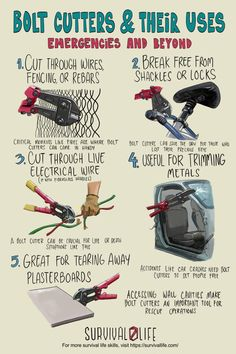Bolt cutters are more than just cutting wires and cables. They are powerful cutting tools that can also be very useful during emergency situations. Find out more about how a bolt cutter can be useful during emergencies, from breaking padlocks and trimming metals, to tearing away plasterboards! #boltcutters #survivaltools #survivalskills #survival #preparedness #survivallife Survival Life, Survival Tools, Camping Survival, Emergency Preparation, Emergency Preparedness, Emergency Kits, How To Make Diy Projects, Safety Tips, Cool Tools