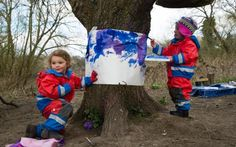 Children play outside, painting at the Creation Station at The Little Forest Folk school based on Wimbledon common, South London. Forest School Activities, Outside Activities, Nature Activities, Camping Activities, Outdoor Education, Outdoor Learning, Outdoor Play, Early Education, Outdoor School