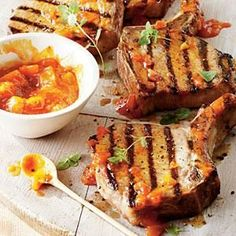 The brown sugar marinade caramelizes beautifully on the pork chops when you grill them, and the peach barbecue sauce with fragrant fresh ginger is a perfect match.