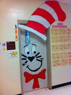 The cat in the hat door dr seuss bulletin board, classroom bulletin boards,